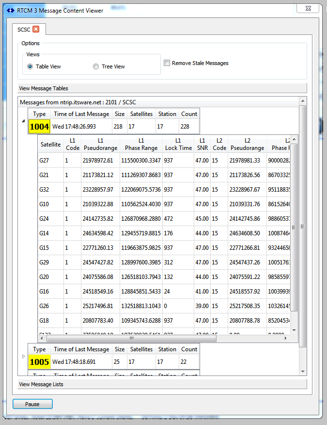 RTCM3 Message Decoding - Simple NTRIP Caster - SNIP